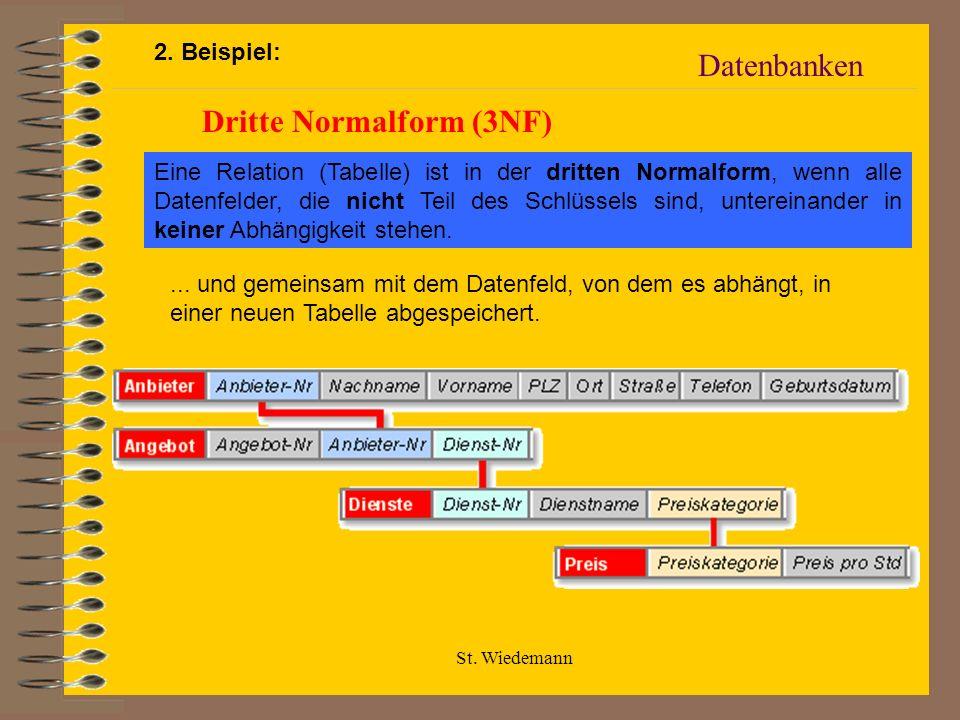 St. Wiedemann Datenbanken Dritte Normalform (3NF) Eine Relation (Tabelle) ist in der dritten Normalform, wenn alle Datenfelder, die nicht Teil des Sch