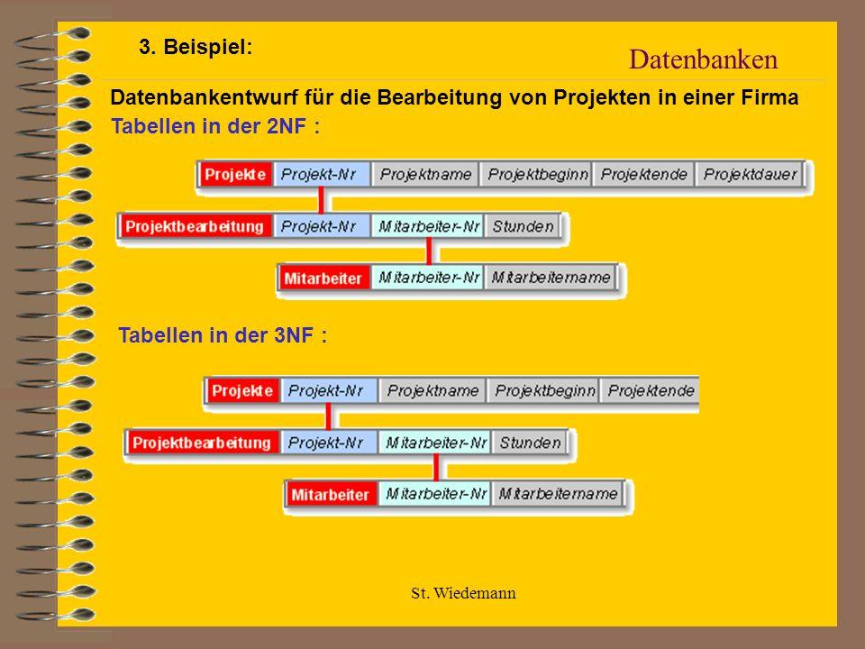 St. Wiedemann Datenbanken Datenbankentwurf für die Bearbeitung von Projekten in einer Firma Tabellen in der 2NF : Tabellen in der 3NF : 3. Beispiel: