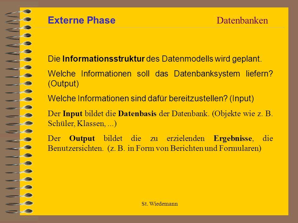 St. Wiedemann Die Informationsstruktur des Datenmodells wird geplant. Welche Informationen soll das Datenbanksystem liefern? (Output) Welche Informati