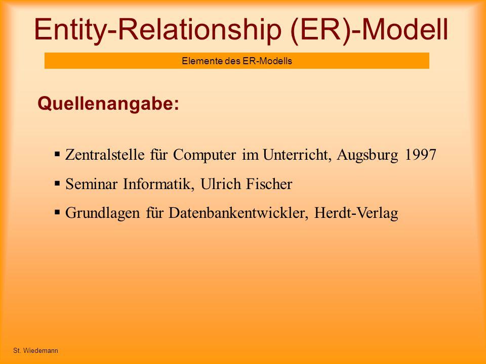 Entity-Relationship (ER)-Modell Elemente des ER-Modells Quellenangabe: St. Wiedemann Zentralstelle für Computer im Unterricht, Augsburg 1997 Seminar I