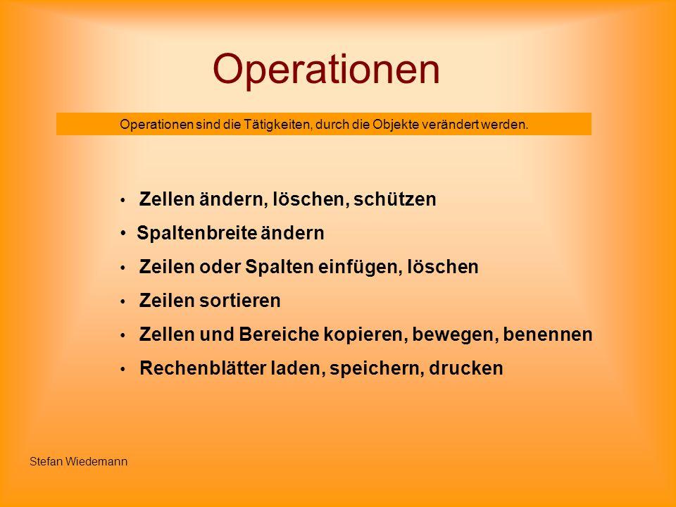 Operationen Operationen sind die Tätigkeiten, durch die Objekte verändert werden. Zellen ändern, löschen, schützen Spaltenbreite ändern Zeilen oder Sp