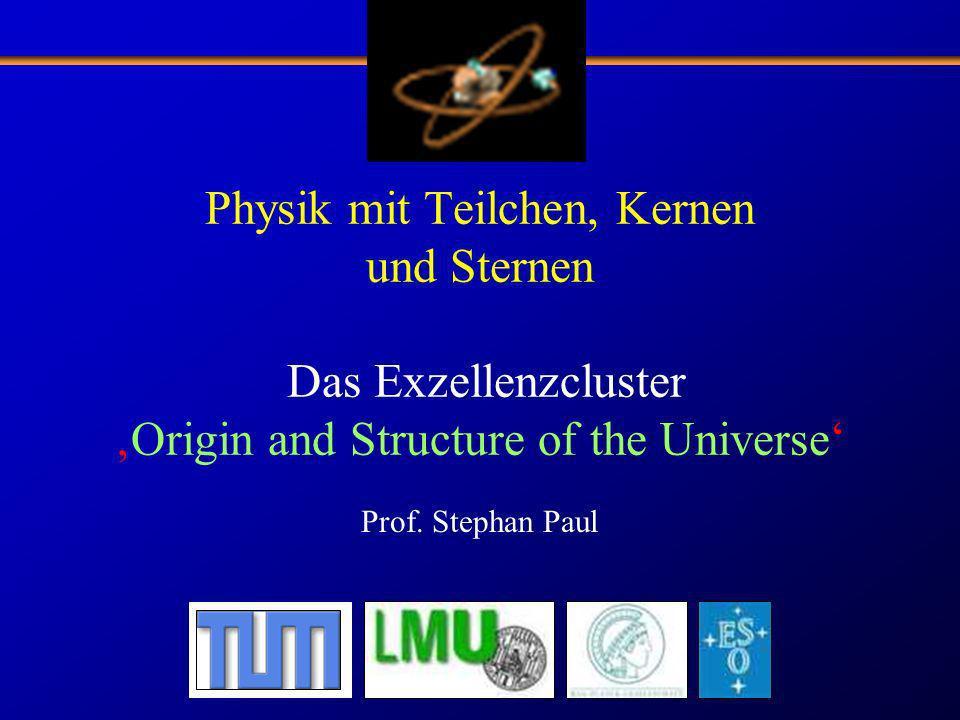 Physik mit Teilchen, Kernen und Sternen Das ExzellenzclusterOrigin and Structure of the Universe Prof. Stephan Paul