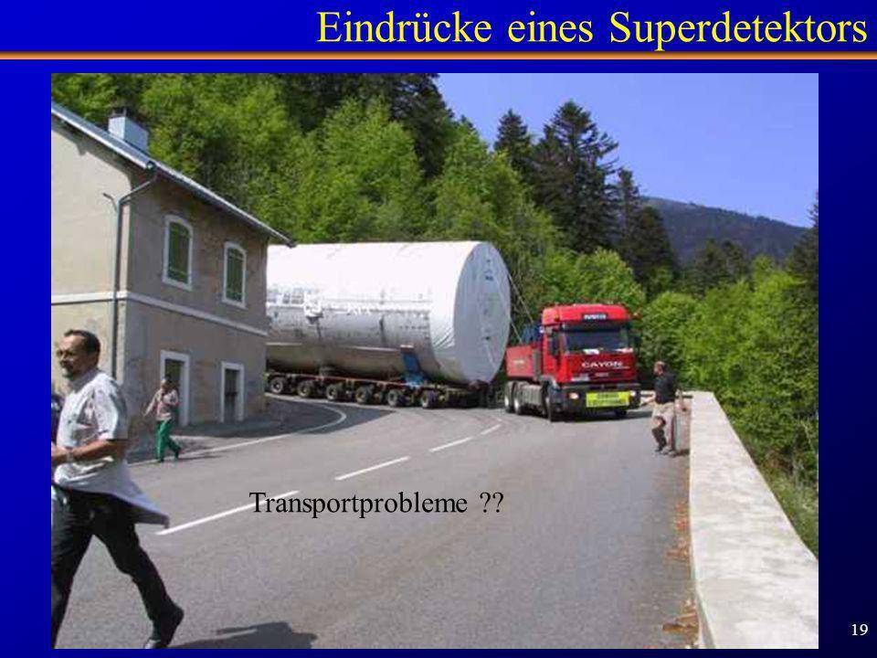 Schülertag TUM - 1.2.2007 19 Eindrücke eines Superdetektors Zentraler Detektorteil - Rohbau Transportprobleme ??