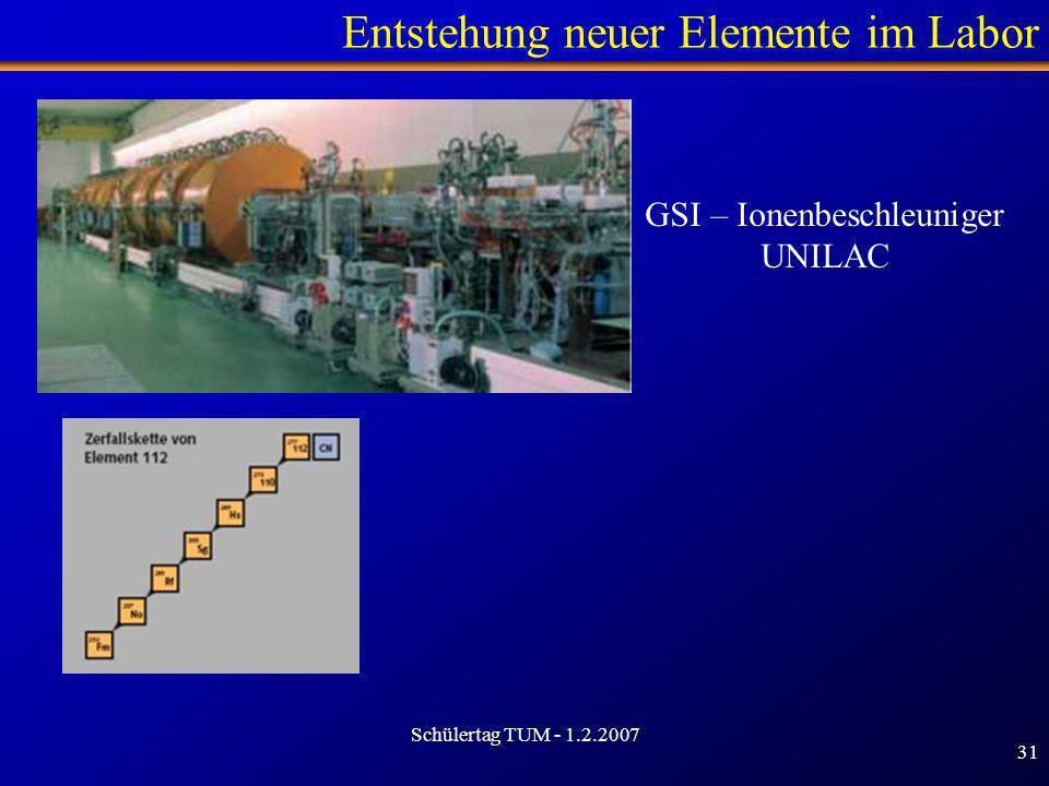Schülertag TUM - 1.2.2007 31 Entstehung neuer Elemente im Labor GSI – Ionenbeschleuniger UNILAC