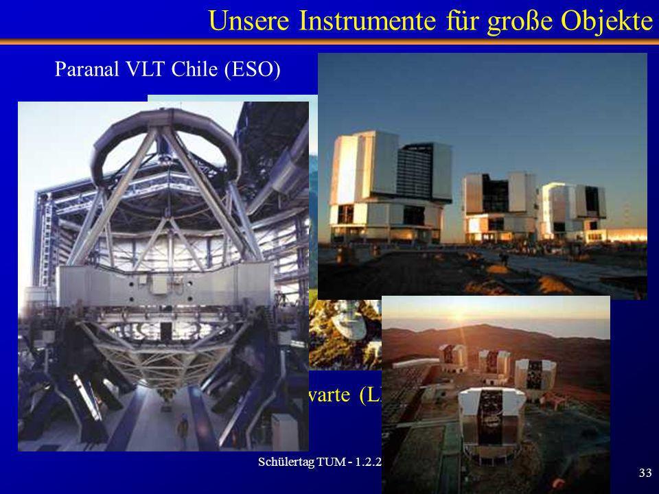 Schülertag TUM - 1.2.2007 33 Unsere Instrumente für große Objekte Universitätsternwarte (LMU) - Wendelstein Paranal VLT Chile (ESO)