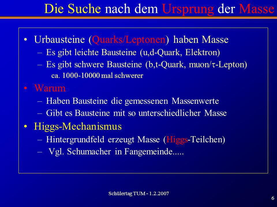 Schülertag TUM - 1.2.2007 6 Die Suche nach dem Ursprung der Masse Urbausteine (Quarks/Leptonen) haben Masse –Es gibt leichte Bausteine (u,d-Quark, Ele