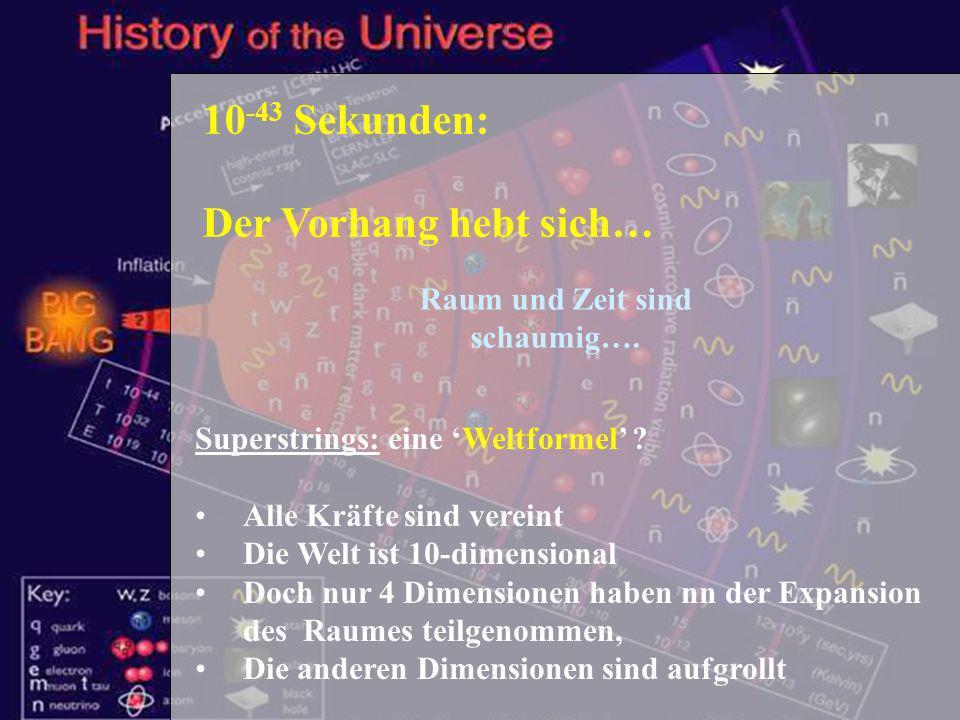 Schülertag TUM - 1.2.2007 8 10 -43 Sekunden: Der Vorhang hebt sich… Superstrings: eine Weltformel ? Alle Kräfte sind vereint Die Welt ist 10-dimension