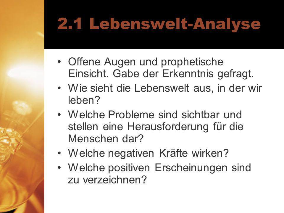 2.1 Lebenswelt-Analyse Offene Augen und prophetische Einsicht.