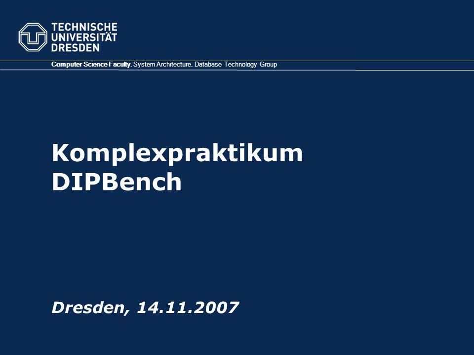 TU Dresden, 01.11.07Komplexpraktikum DIPBench Log4j – Konfigurationsdatei: Gliederung (2) log4j.appender.console=org.apache.log4j.ConsoleAppender log4j.appender.console.layout=org.apache.log4j.PatternLayout log4j.appender.console.layout.ConversionPattern=(%-10r)[%-15t]%-5p %-20c{1} - %m%n log4j.appender.fileAppender=org.apache.log4j.FileAppender log4j.appender.fileAppender.File=log/demo.log log4j.appender.fileAppender.layout=org.apache.log4j.PatternLayout log4j.appender.fileAppender.layout.ConversionPattern=%d [%-10t] %-5p %c{2} %x - %m%n log4j.appender.null=org.apache.log4j.varia.NullAppender log4j.logger.org=DEBUG, null #log4j.logger.org.tud.dipbench.initializer.gen=INFO, console #log4j.logger.org.tud.dipbench.initializer.conn=INFO, console log4j.logger.org.tud.dipbench.initializer.gen.UniformDataGenerator=DEBUG, console log4j.logger.org.tud.dipbench.initializer.conn=INFO, console