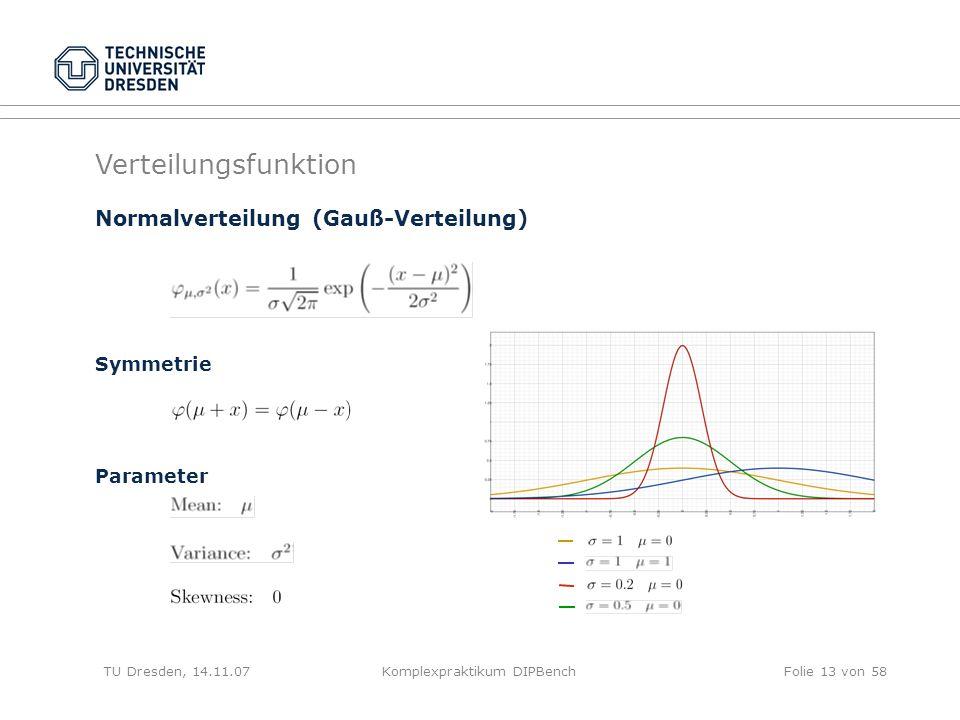 TU Dresden, 14.11.07Komplexpraktikum DIPBenchFolie 13 von 58 Normalverteilung (Gauß-Verteilung) Symmetrie Parameter Verteilungsfunktion