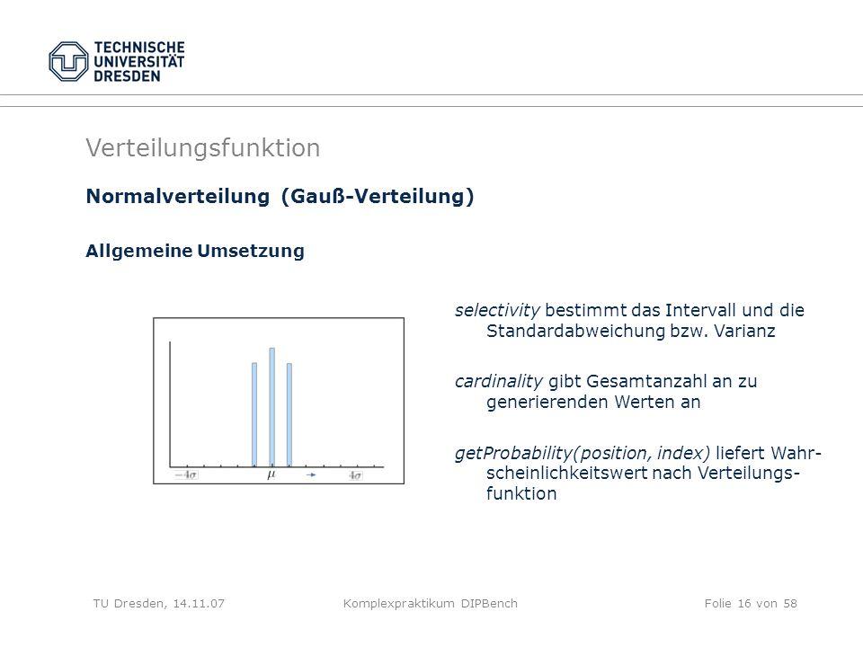 TU Dresden, 14.11.07Komplexpraktikum DIPBenchFolie 16 von 58 Verteilungsfunktion selectivity bestimmt das Intervall und die Standardabweichung bzw.