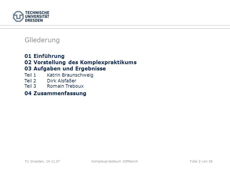 TU Dresden, 01.11.07Komplexpraktikum DIPBenchFolie 33 von 58 Nachteile / Gründe für das Verwerfen der ersten Idee -insbesondere bei kleineren Datenmengen können die erzeugten Daten (zum Teil stark) von der gewünschten Verteilung abweichen -(Pseudo-)Zufall überflüssig oder sogar hinderlich beim Erzeugen eines gewünschten Testdatensatzes