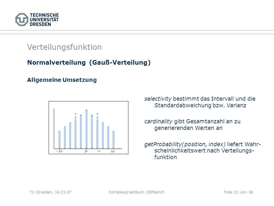 TU Dresden, 14.11.07Komplexpraktikum DIPBenchFolie 21 von 58 Verteilungsfunktion selectivity bestimmt das Intervall und die Standardabweichung bzw.