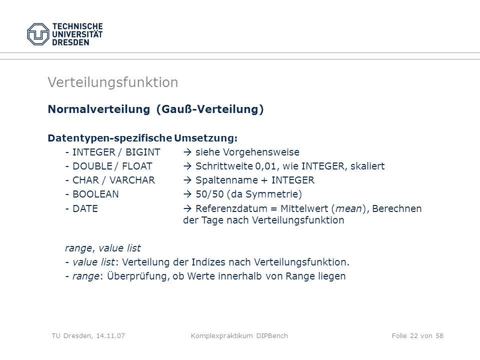 TU Dresden, 14.11.07Komplexpraktikum DIPBenchFolie 22 von 58 Normalverteilung (Gauß-Verteilung) Datentypen-spezifische Umsetzung: - INTEGER / BIGINT siehe Vorgehensweise - DOUBLE / FLOAT Schrittweite 0,01, wie INTEGER, skaliert - CHAR / VARCHAR Spaltenname + INTEGER - BOOLEAN 50/50 (da Symmetrie) - DATE Referenzdatum = Mittelwert (mean), Berechnen der Tage nach Verteilungsfunktion range, value list - value list: Verteilung der Indizes nach Verteilungsfunktion.
