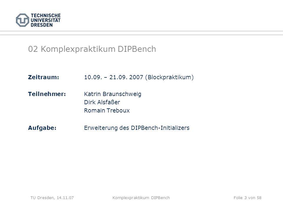 TU Dresden, 01.11.07Komplexpraktikum DIPBenchFolie 34 von 58 Umgesetzte Lösung -Berechnung der Anzahl der verschiedenen Werte aus Selektivität und Kardinalität -Einteilung des Wertebereichs in Intervalle -Schrittweise Abarbeitung von links nach rechts: an jeder Intervallgrenze wird berechnet, wieviele Exemplare des aktuellen Wertes (Intervallgrenze) gemäß der Warscheinlichkeit des Wertes erzeugt werden müssen