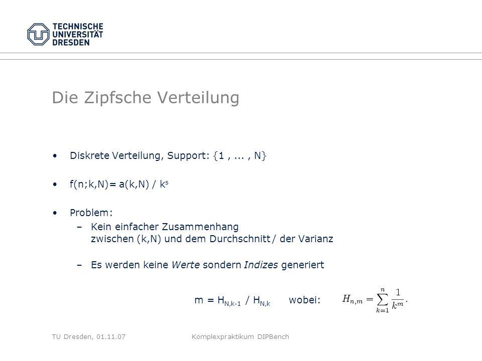 TU Dresden, 01.11.07Komplexpraktikum DIPBench Die Zipfsche Verteilung Diskrete Verteilung, Support: {1,..., N} f(n;k,N)= a(k,N) / k s Problem: –Kein einfacher Zusammenhang zwischen (k,N) und dem Durchschnitt / der Varianz –Es werden keine Werte sondern Indizes generiert m = H N,k-1 / H N,k wobei: