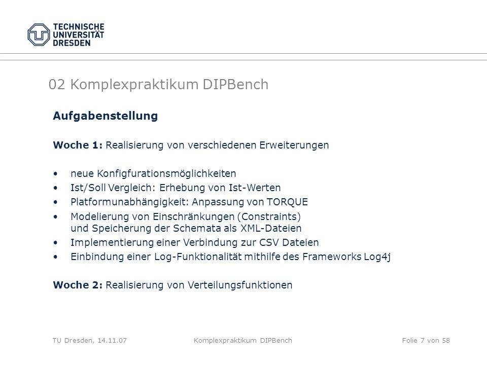 TU Dresden, 14.11.07Komplexpraktikum DIPBenchFolie 7 von 58 02 Komplexpraktikum DIPBench Aufgabenstellung Woche 1: Realisierung von verschiedenen Erweiterungen neue Konfigfurationsmöglichkeiten Ist/Soll Vergleich: Erhebung von Ist-Werten Platformunabhängigkeit: Anpassung von TORQUE Modelierung von Einschränkungen (Constraints) und Speicherung der Schemata als XML-Dateien Implementierung einer Verbindung zur CSV Dateien Einbindung einer Log-Funktionalität mithilfe des Frameworks Log4j Woche 2: Realisierung von Verteilungsfunktionen