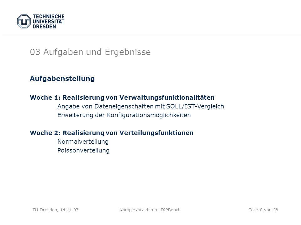 TU Dresden, 14.11.07Komplexpraktikum DIPBenchFolie 19 von 58 Verteilungsfunktion selectivity bestimmt das Intervall und die Standardabweichung bzw.