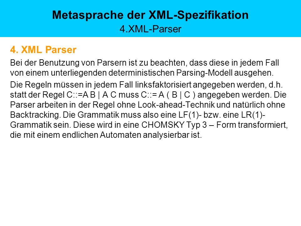 Metasprache der XML-Spezifikation 4.XML-Parser 4. XML Parser Bei der Benutzung von Parsern ist zu beachten, dass diese in jedem Fall von einem unterli