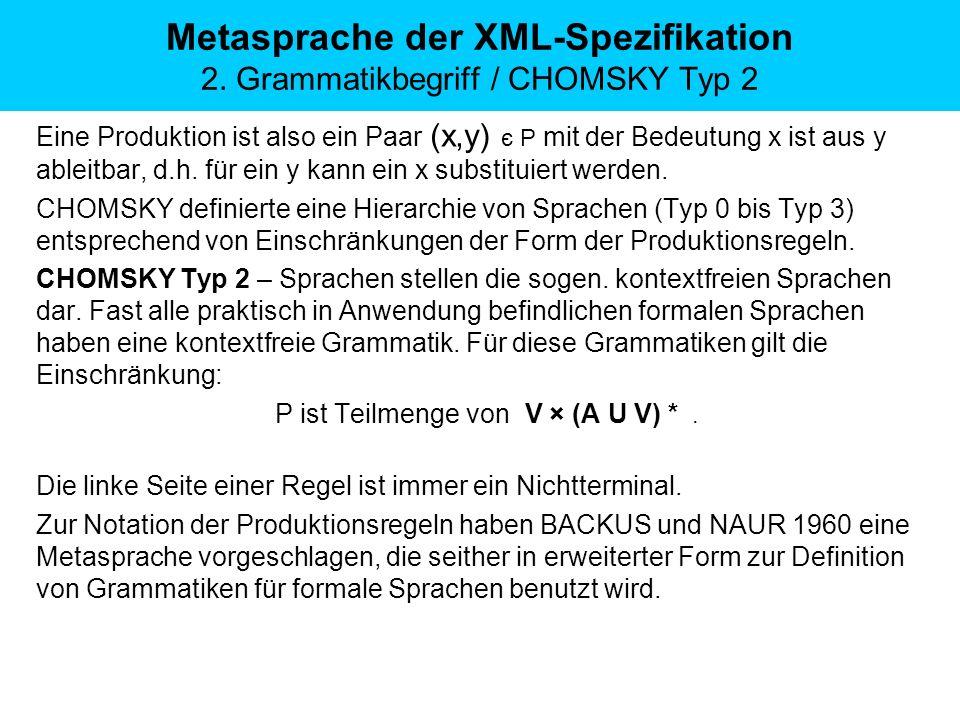 Eine Produktion ist also ein Paar (x,y) є P mit der Bedeutung x ist aus y ableitbar, d.h. für ein y kann ein x substituiert werden. CHOMSKY definierte