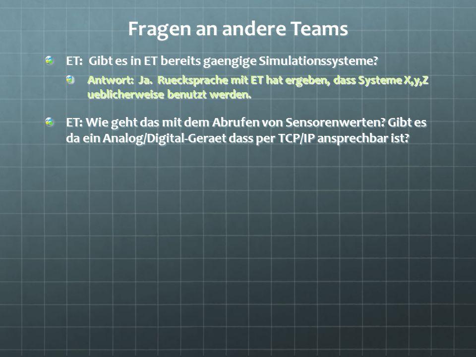 Fragen an andere Teams ET: Gibt es in ET bereits gaengige Simulationssysteme.