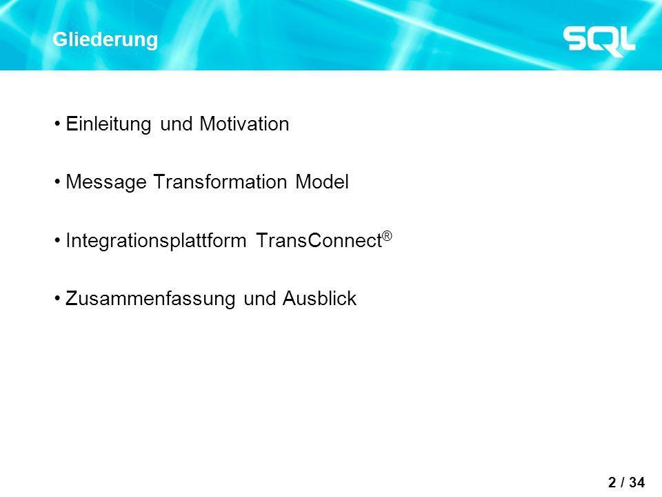 2 / 34 Gliederung Einleitung und Motivation Message Transformation Model Integrationsplattform TransConnect ® Zusammenfassung und Ausblick