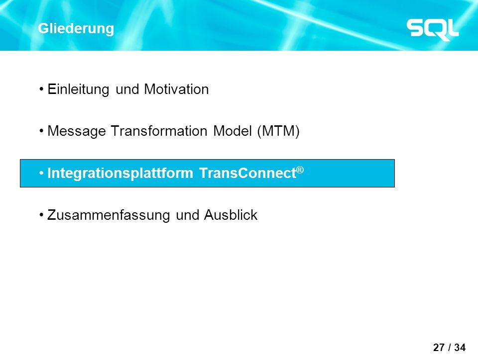27 / 34 Gliederung Einleitung und Motivation Message Transformation Model (MTM) Integrationsplattform TransConnect ® Zusammenfassung und Ausblick