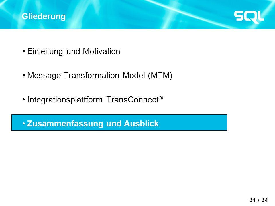 31 / 34 Gliederung Einleitung und Motivation Message Transformation Model (MTM) Integrationsplattform TransConnect ® Zusammenfassung und Ausblick