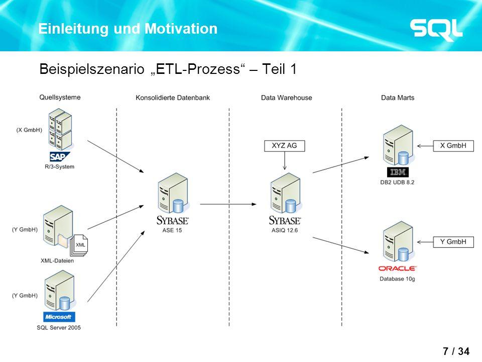 7 / 34 Einleitung und Motivation Beispielszenario ETL-Prozess – Teil 1