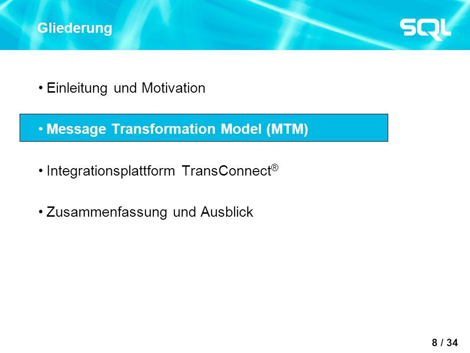 8 / 34 Gliederung Einleitung und Motivation Message Transformation Model (MTM) Integrationsplattform TransConnect ® Zusammenfassung und Ausblick
