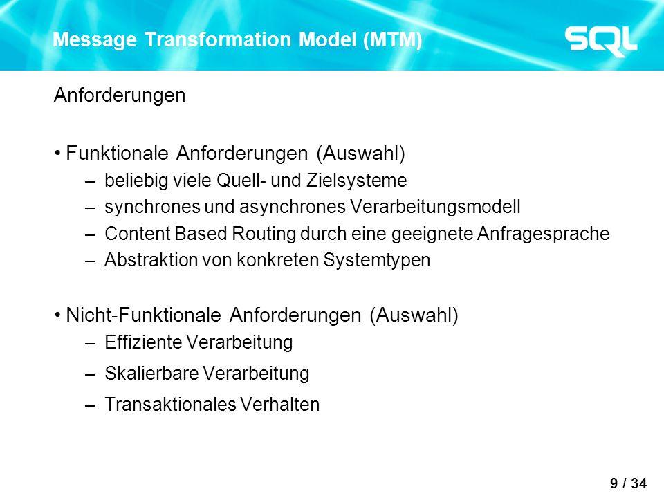9 / 34 Message Transformation Model (MTM) Anforderungen Funktionale Anforderungen (Auswahl) –beliebig viele Quell- und Zielsysteme –synchrones und asy