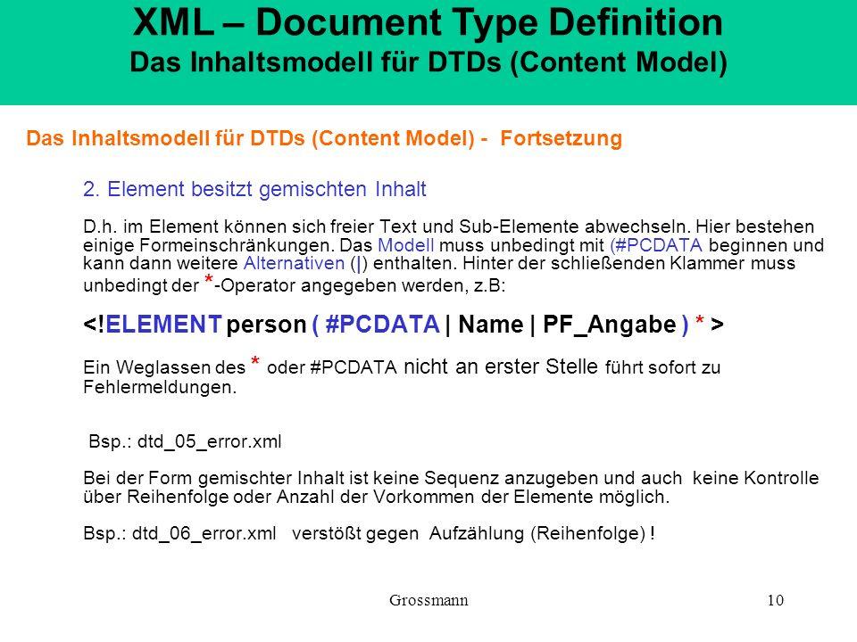 Grossmann10 Das Inhaltsmodell für DTDs (Content Model) - Fortsetzung 2. Element besitzt gemischten Inhalt D.h. im Element können sich freier Text und