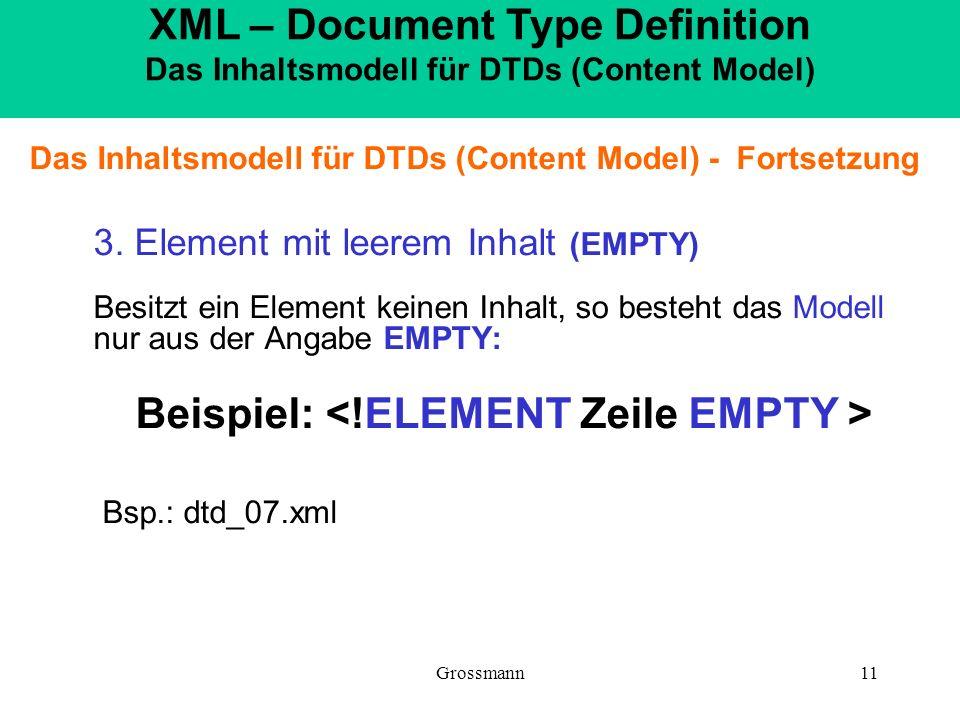 Grossmann11 Das Inhaltsmodell für DTDs (Content Model) - Fortsetzung 3. Element mit leerem Inhalt (EMPTY) Besitzt ein Element keinen Inhalt, so besteh