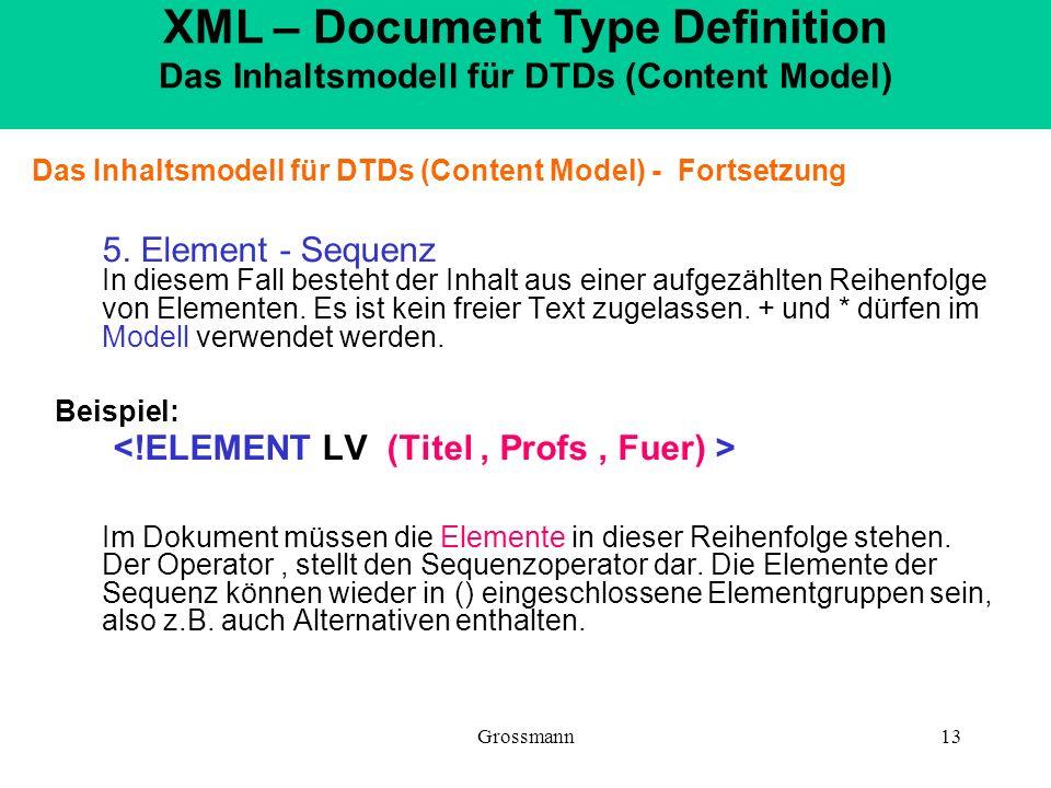 Grossmann13 Das Inhaltsmodell für DTDs (Content Model) - Fortsetzung 5. Element - Sequenz In diesem Fall besteht der Inhalt aus einer aufgezählten Rei