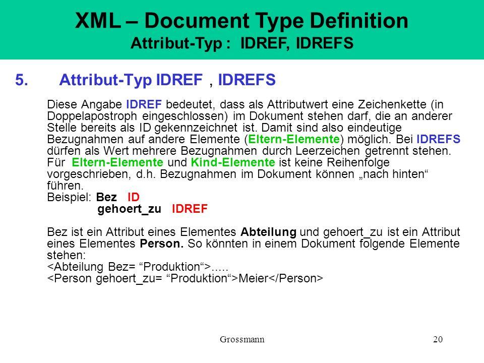 Grossmann20 5. Attribut-Typ IDREF, IDREFS Diese Angabe IDREF bedeutet, dass als Attributwert eine Zeichenkette (in Doppelapostroph eingeschlossen) im