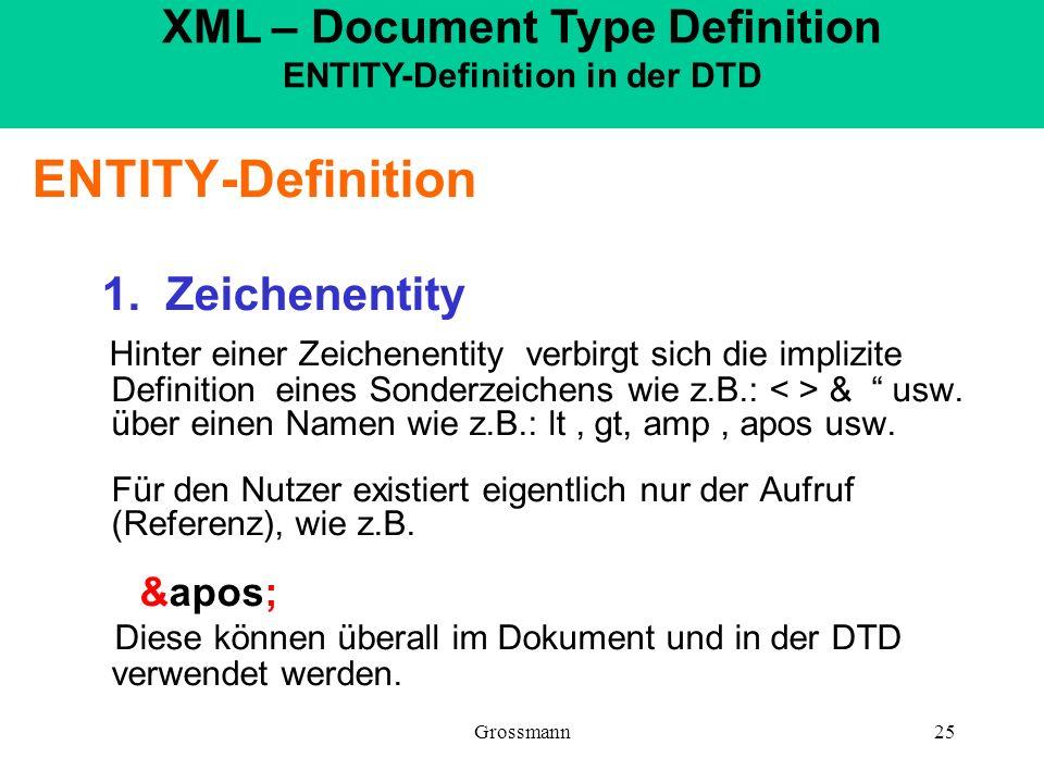 Grossmann25 ENTITY-Definition 1. Zeichenentity Hinter einer Zeichenentity verbirgt sich die implizite Definition eines Sonderzeichens wie z.B.: & usw.
