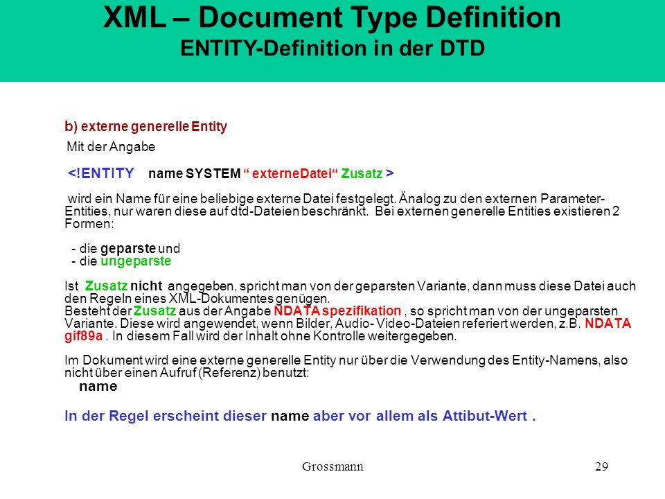 Grossmann29 b ) externe generelle Entity Mit der Angabe wird ein Name für eine beliebige externe Datei festgelegt. Änalog zu den externen Parameter- E
