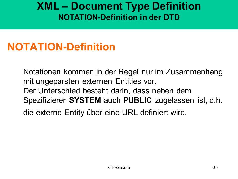 Grossmann30 NOTATION-Definition Notationen kommen in der Regel nur im Zusammenhang mit ungeparsten externen Entities vor. Der Unterschied besteht dari