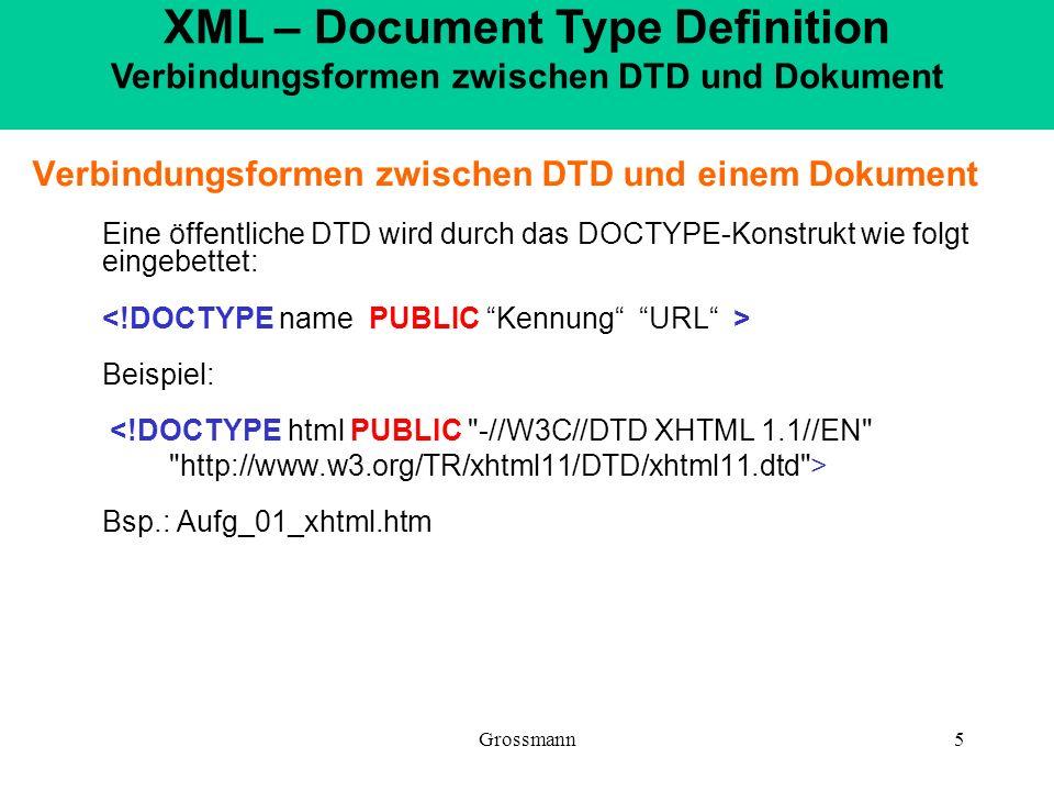 Grossmann5 Verbindungsformen zwischen DTD und einem Dokument Eine öffentliche DTD wird durch das DOCTYPE-Konstrukt wie folgt eingebettet: Beispiel: <!