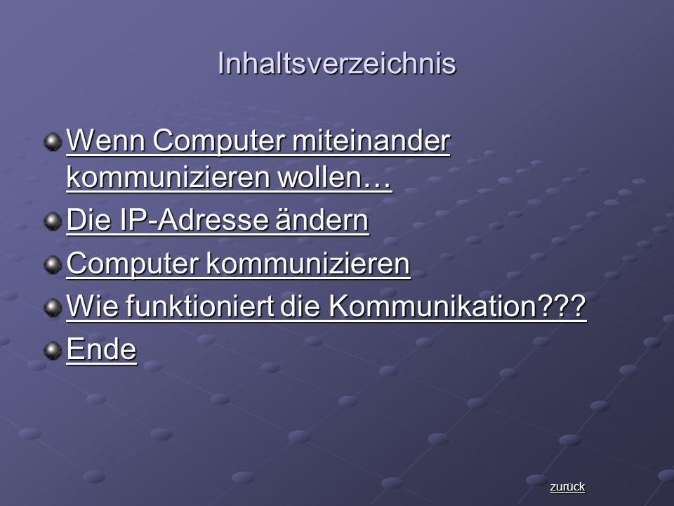 Inhaltsverzeichnis Wenn Computer miteinander kommunizieren wollen… Wenn Computer miteinander kommunizieren wollen… Die IP-Adresse ändern Die IP-Adresse ändern Computer kommunizieren Computer kommunizieren Wie funktioniert die Kommunikation??.