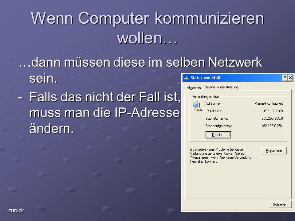 Wenn Computer kommunizieren wollen… …dann müssen diese im selben Netzwerk sein.