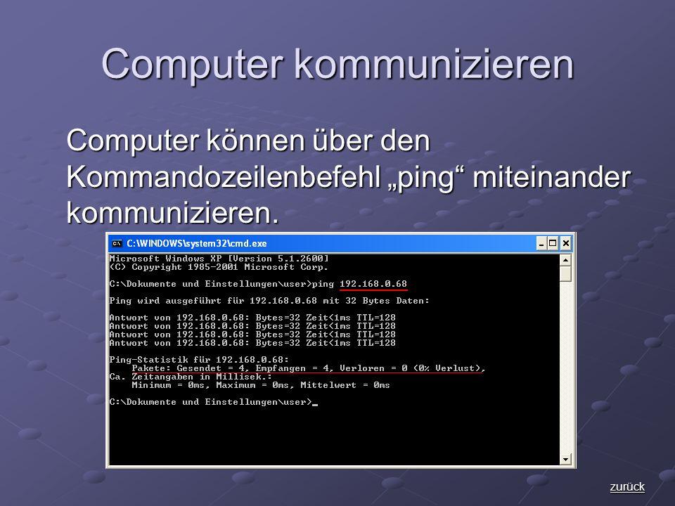Computer kommunizieren Computer können über den Kommandozeilenbefehl ping miteinander kommunizieren.