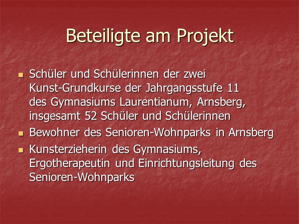 Beteiligte am Projekt Schüler und Schülerinnen der zwei Kunst-Grundkurse der Jahrgangsstufe 11 des Gymnasiums Laurentianum, Arnsberg, insgesamt 52 Sch