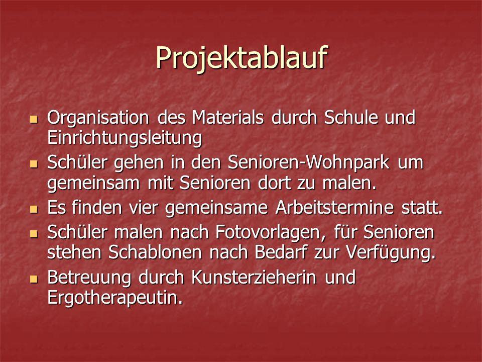 Projektablauf Organisation des Materials durch Schule und Einrichtungsleitung Organisation des Materials durch Schule und Einrichtungsleitung Schüler