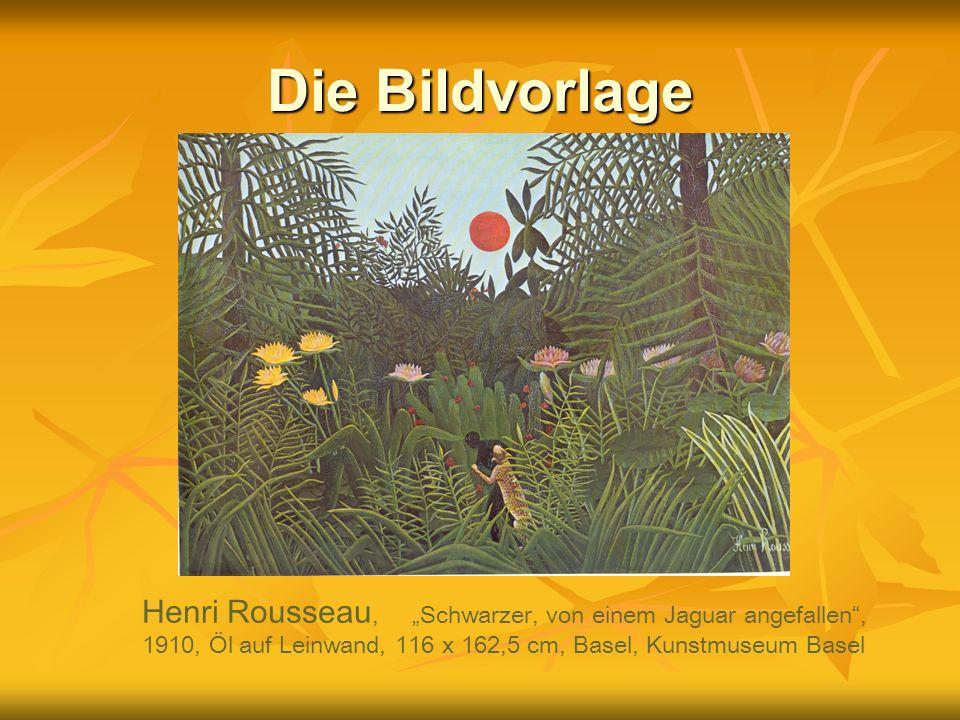 Die Bildvorlage Henri Rousseau, Schwarzer, von einem Jaguar angefallen, 1910, Öl auf Leinwand, 116 x 162,5 cm, Basel, Kunstmuseum Basel