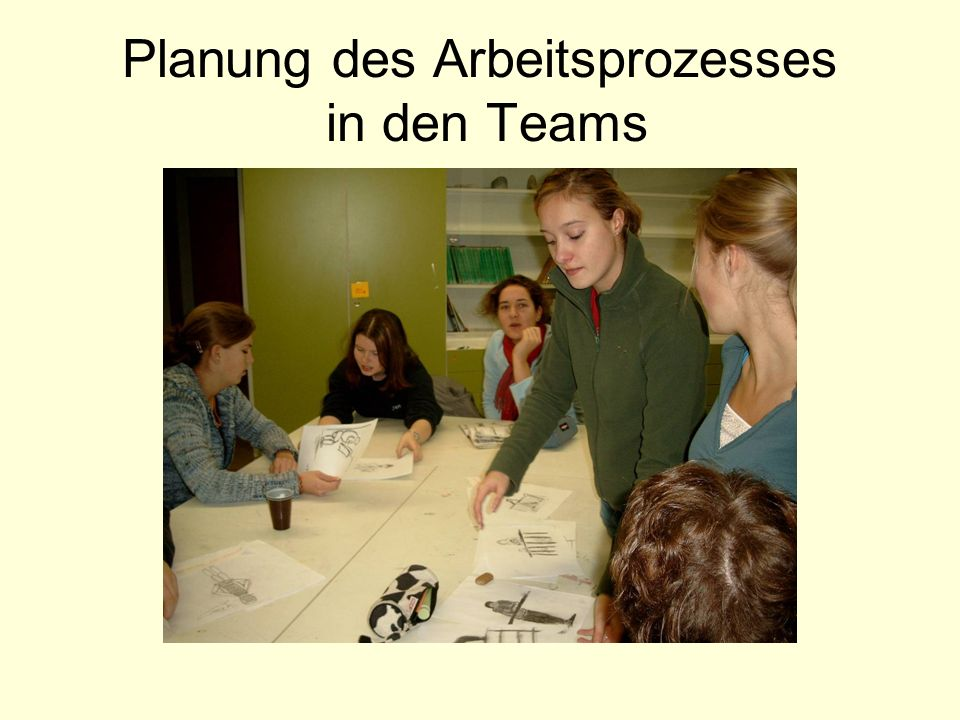 Planung des Arbeitsprozesses in den Teams
