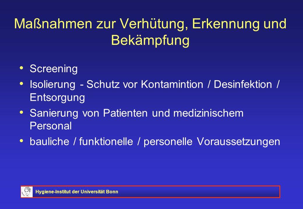 Hygiene-Institut der Universität Bonn Maßnahmen zur Verhütung, Erkennung und Bekämpfung Screening Isolierung - Schutz vor Kontamintion / Desinfektion