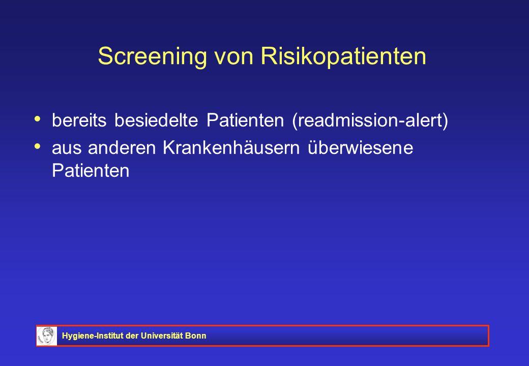 Hygiene-Institut der Universität Bonn Screening von Risikopatienten bereits besiedelte Patienten (readmission-alert) aus anderen Krankenhäusern überwi