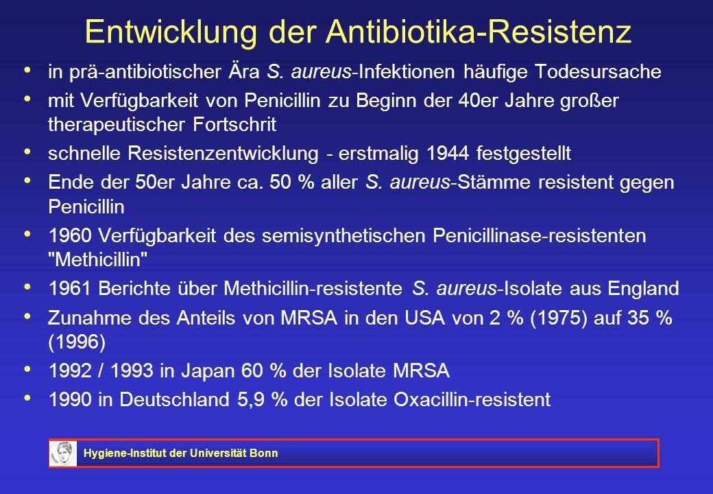 Hygiene-Institut der Universität Bonn Entwicklung der Antibiotika-Resistenz in prä-antibiotischer Ära S. aureus-Infektionen häufige Todesursache mit V