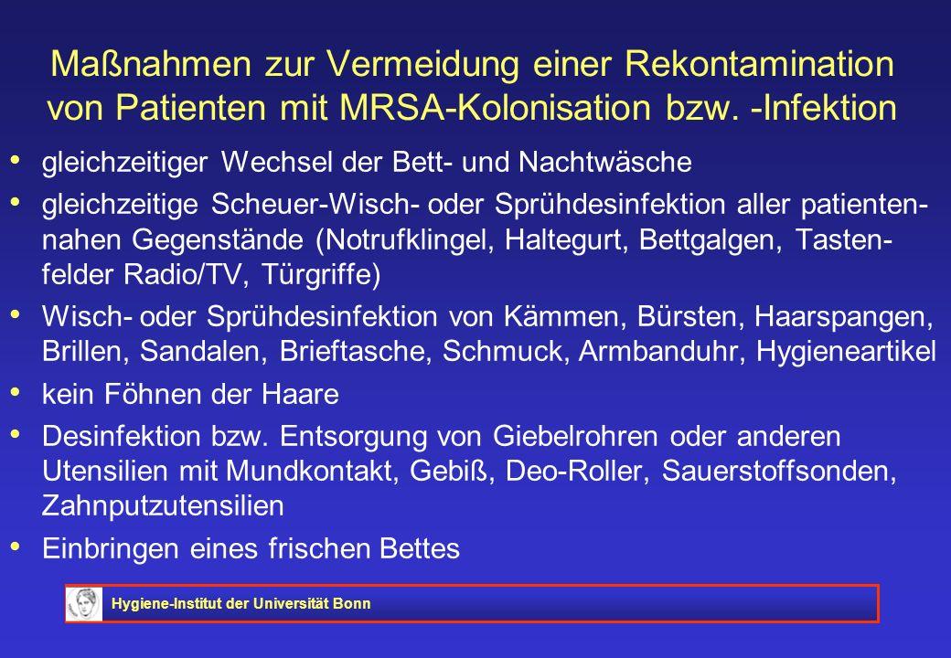 Hygiene-Institut der Universität Bonn Maßnahmen zur Vermeidung einer Rekontamination von Patienten mit MRSA-Kolonisation bzw. -Infektion gleichzeitige